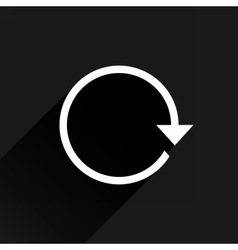White arrow icon refresh sign on black background vector image vector image
