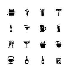 alcoholic - flat icons vector image