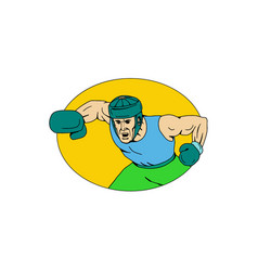 amateur boxer knockout punch drawing vector image