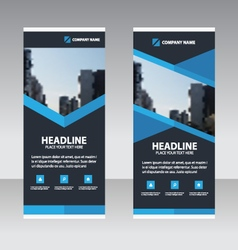 Blue triangle Business Roll Up Banner flat design vector image vector image