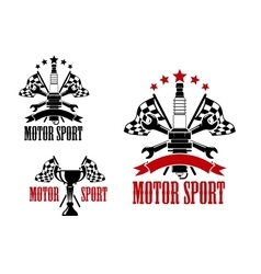 Motor race icons with trophy and spark plug vector image vector image