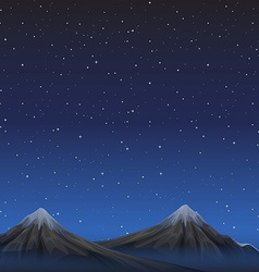 Scene with mountains at night vector image vector image