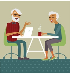 Trendy senior couple using laptop vector image