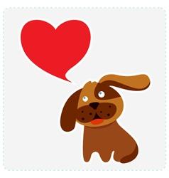 Cute dog with heart shape speech bubble vector image