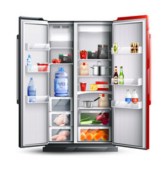 Red open refrigerator with products vector