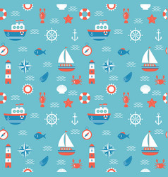 seamless pattern with nautical elements marine vector image