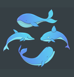 set of underwater life with whales and dolphin vector image vector image
