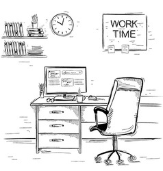 Sketchy of office interior room graphic imag vector image vector image