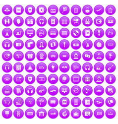 100 headphones icons set purple vector image vector image