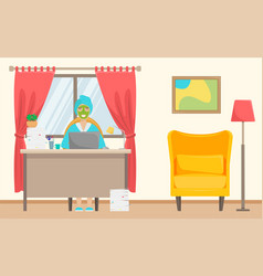 a girl with a towel on her head and a facemask vector image