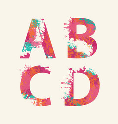 abstract alphabet letters a b c d with color blots vector image