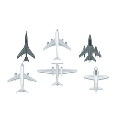 Airplanes and military aircraft top view vector