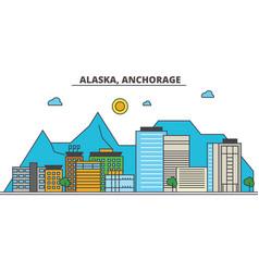 Alaska anchoragecity skyline architecture vector
