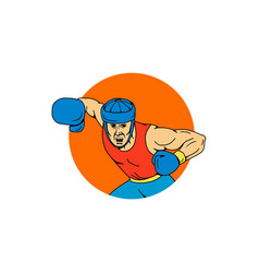 Amateur boxer overhead punch circle drawing vector