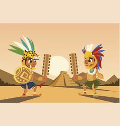Aztec warriors with headgear weapon shield vector