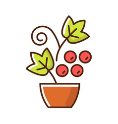 berry shrubs and vines rgb color icon vector image