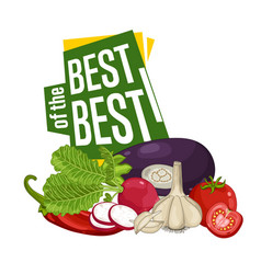 best discount poster with fresh vegetable vector image