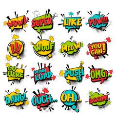 Big set comic text speech bubble phrase vector