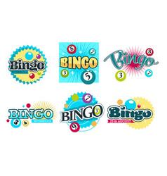 bingo game logo set six with colorful nambered vector image