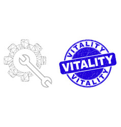 Blue grunge vitality stamp and web carcass service vector