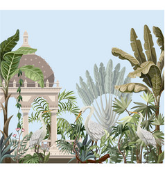 border with ancient arbor and herons in jungle vector image