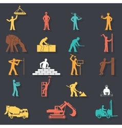 Builders construction workers with tools and vector image