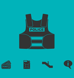 Bullet proof vest body armor suit icon flat vector
