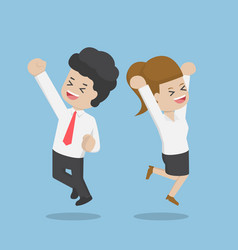 Business people celebrating success jumping vector