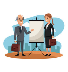 Business people on construction zone vector