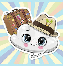 Cartoon cloud in a hat with luggage vector