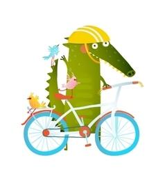 cartoon green funny crocodile in helmet vector image