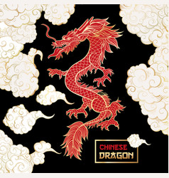 Chinese dragon and clouds hand drawn vector