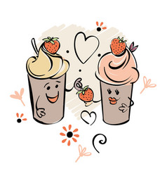 Chocolade ice cream character and strawberry vector