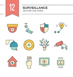 Colorful CCTV icons vector