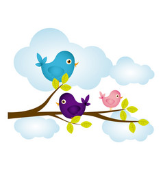 colorful cloudscape with birds on branch with vector image