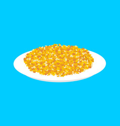 Corn cereal in plate isolated healthy food for vector