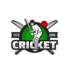 cricket sport player icon batsman ball and bat vector image