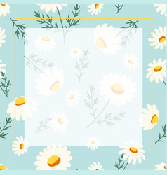 cute chamomile flowers frame isolated on blue vector image