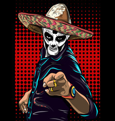Day of the dead sugar skull man mexican vector