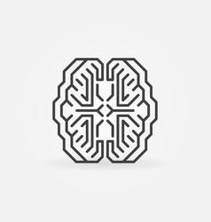 Digital smart brain minimal concept outline vector