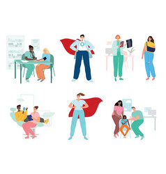 Doctors and patients diverse medical workers vector