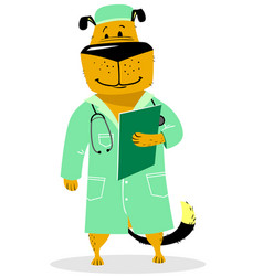 Dog in costume of doctor pet as a vet with with a vector