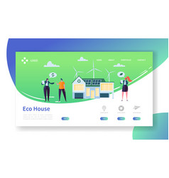 Eco friendly renewable solar and wind energy home vector