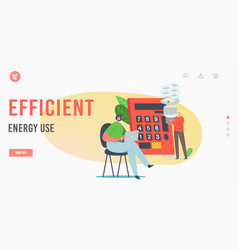 Efficient energy use landing page template tiny vector