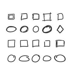 empty check box circles and squares hand drawn vector image