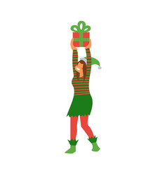 female elf in green and red vector image