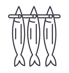 fish drying line icon sign vector image