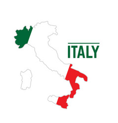 Flag and map of italy vector