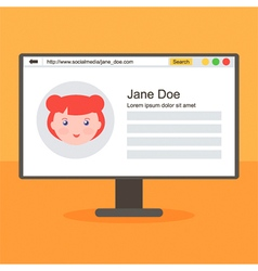 Flat design social media profile page concept vector