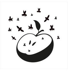 Flies or midges fly over apple silhouette vector